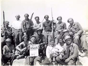 Fighters of the Mackenzie-Papineau brigades, organized by the Communist Party of Canada to train their members in armed struggle and contribute in the international effort to defeat the fascists in Spain.