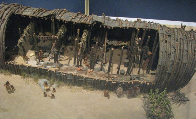 A model of a longhouse at the Royal Ontario Museum. CREDIT: Owen Jarus