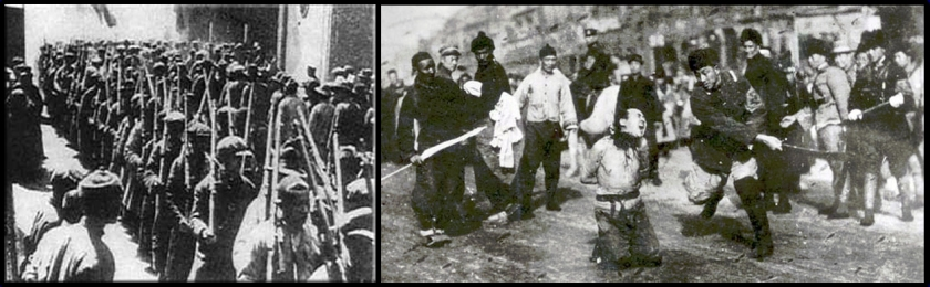 In March 1927, the General Labor Union in Shanghai, under direction of the Chinese Communist Party, launched a general strike and an armed insurrection of some 600,000 workers (image to left) against the warlords and in support of the approaching Revolutionary Nationalist Army led by the Kuomintang, which the communists were members of. While praising the unions publicly, Chiang Kai-shek proceeded to secretly raise a paramilitary force with support from the bourgeoisie and the criminal underworld to drown the communist forces in their own blood. On April 12, these reactionary paramilitary elements launched a series of attacks against the city's large unions against the now disarmed workers (image to right). Union members were slaughtered, arrested, and disarmed. When townspeople, workers, and students staged a protest rally the next day, they were fired on by Kuomintang troops, with executions continuing for weeks. The General Labor Union organizations were declared illegal, and all strike activity in the city ceased. At this time, the CCP operated with a strategy of urban-based insurrection based on the proletariat. This event encouraged the shift to the protracted people's war in the countryside with the peasantry becoming the main force of the revolution.