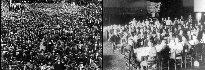 In March 1927, the General Labor Union in Shanghai, under direction of the Chinese Communist Party, launched a general strike and an armed insurrection of some 600,000 workers (image to left) against the warlords and in support of the approaching Revolutionary Nationalist Army led by the Kuomintang, which the communists were members of. While praising the unions publicly, Chiang Kai-shek proceeded to secretly raise a paramilitary force with support from the bourgeoisie and the criminal underworld to drown the communist forces in their own blood. During the Winnipeg General Strike in the summer of 1919, workers inspired by the Russian revolution completely took control of the city (image to left). While the local ruling elites and the Canadian government completely lost political power for a span of weeks within the city, the Citizens' Committee of One Thousand (image to right) – a secretive organization of Winnipeg's bourgeoisie created – was created to maintain the unity of its class and counter the revolutionary advances. This was organization served as the main liaise to coordinate the military response which by the Canadian government which ended the strike in late June 1919.