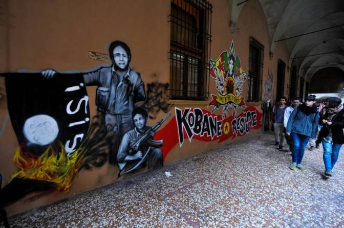 Graffiti in Bologna in support of the resistance in Kobane.
