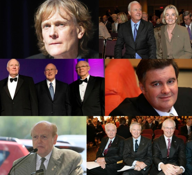 Know your enemy, especially the biggest among them. From top left to right and top to bottom, the ruling families among Canada's monopoly capitalists (their personal wealth shouldn't be confused with the capital controlled by their corporations): David Thompson of Thompson Reuters ($20 billion net worth); Galen and Hilary Weston of Weston/Loblaws/Holt Renfrew etc (net worth $8.2 billion); James, Arthur, and John Irving of Irving Oil ($8+ billion net worth); Edward Rogers III (net worth $6.41 billion net worth); Jimmy Pattison of Pattison Group ($6.14 billion net worth); and the Paul Demarais to left with sons Paul Jr. and Andre.