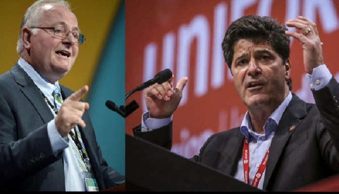 "Paul Moist of the Canadian Union of Public Employees (left) and Jerry Dias (right) of UNIFOR together preside over almost a million union members in Canada in their respective unions. While they pose as defenders of ""working people"", the political program of the labour aristocracy really only bargains for the ""middle-class"" status of the upper stratum of union members - the worker elite - while younger workers, women, and industries occupied by people from oppressed nations and national minorities, find themselves getting paid between half or a quarter of what the worker elite takes home. By projecting worker elite aspirations onto the whole working class -- directly through their unions, indirectly through their campaigning and political wing, the NDP -- they misguide the proletariat as a whole. They also maintain labour peace by keeping the working class within the boundaries of bourgeois labour law. In 2013 BASICSNews.ca revealed that Paul Moist got paid $160,000 in 2012, not including benefits and a travel budget for his office of $370,000. Jerry Dias has been estimated by the Toronto Star to make about $140,000 annually. So they're paid like petty-bourgeois and they manage the lives of proletarians in the interests of the bourgeoisie like petty-bourgeois, which is why we advocate for viewing the labour aristoracy as part of the petty-bourgeoisie."