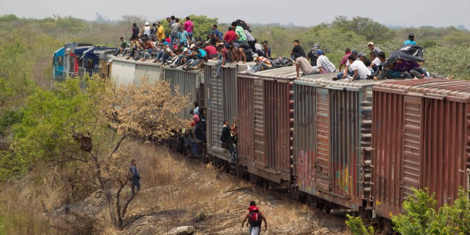 "Riding ""the Beast""—immigrants from Central America take this train through Mexico to sneak across the border into the US."