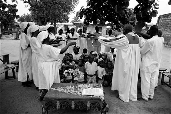 A scene from a mass exorcism ceremony in Kinshasa.