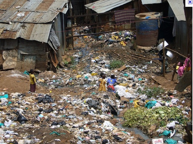 A scene from the Kibera slum in Nairobi, Kenya.